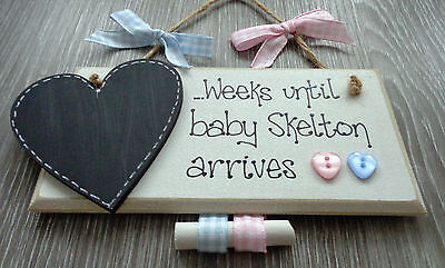 Personalised New Baby Countdown Chalkboard Plaque Gift Pregnancy Baby Shower GH