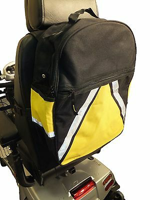 HIGH VISIBILITY Mobility Scooter Storage Bag opt. Crutch Walking Stick Holders