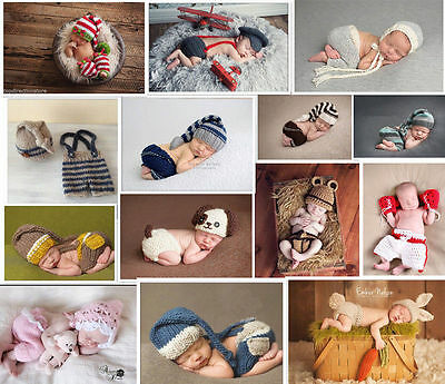 Hot Newborn Baby Girls Boys Crochet Knit Costume Photo Photography Prop Outfits.