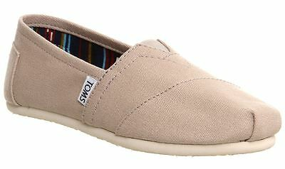 Toms Classic Light Grey White Womens Canvas Espadrille Shoes Slipons