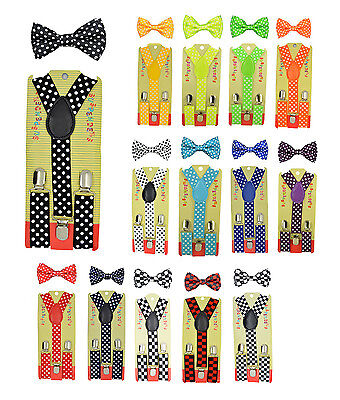 CUTE Baby Toddler Kids Children Polka dot Y-Back Elastic Suspender & Bow Tie