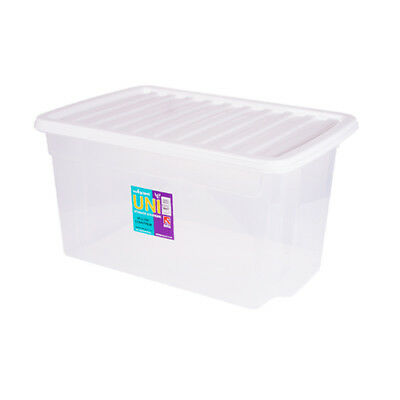 Clear Plastic Storage Box 50 Ltr, Litre/ Big Stacker Boxes Large Contanier & Lid