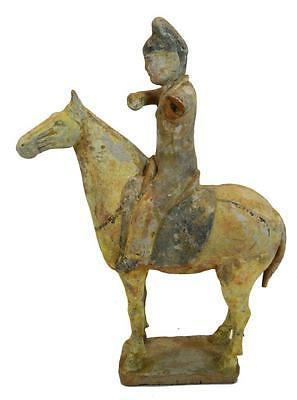 Antiquity 8th Century Asian China Tang Dynasty Terracotta Statue Rider Horse 13""