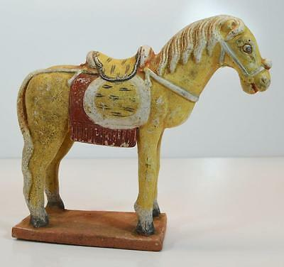 "Antiquity 9"" Asian China Ming Dynasty Terracotta Statue Pigment Paint Horse"