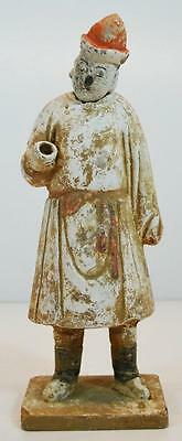 Antiquity Asian China Ancient Terracotta Statue Pigment Paint Court Attendant