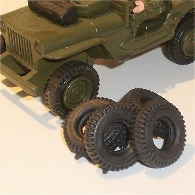 Dinky Toys Tires 612 US Army Jeep pack of 5 Black Tyres Pack #43