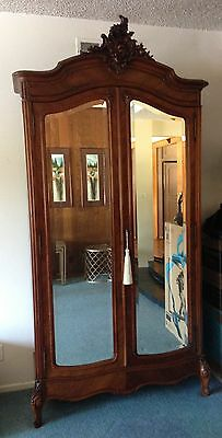 Antique French Louis XV Style Walnut Armoire w 2 Mirrored Doors
