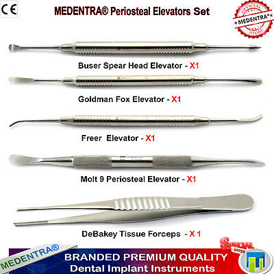 5 PCS Implant Instruments Molt Freer Buser Periosteal Elevators DeBakey Forceps