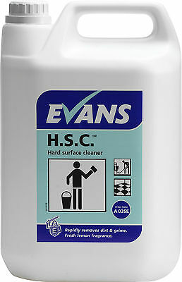 5 Ltr Hard Surface Cleaner Multi purpose walls floors lemon scent Evans Vanodine