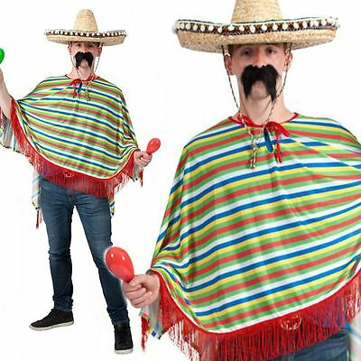Adult Mens Poncho Fancy Dress Outfit Mexican Bandit Western Cowboy Costume Wild
