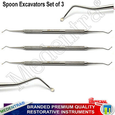 Dental Spoon Excavators Set Large Medium Small Removal of Carious Dentin Lab New