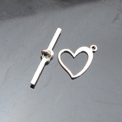 20/50/120sets Tibetan Silver Alloy Heart Toggle Clasp Hook 28mm length16x16mm