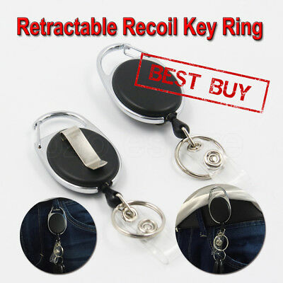 2 X Retractable Chain ID Holder Reel Recoil Key Ring Belt Clip Black AU NEW