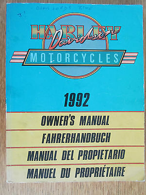 Harley-Davidson 1992 Owners Manual Touring Custom Sportster In 4 Languages