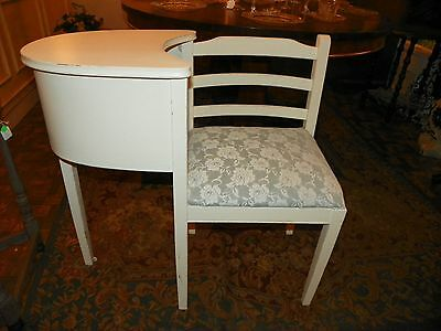Vintage Shabby Chic Painted Off White Phone Table w/ Upholstered Chair