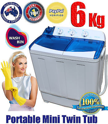 WASH BIN Portable MINI WASHING MACHINE TWIN TUB W dryer for Caravan Camping 6 KG