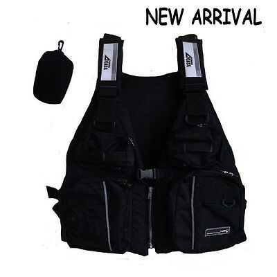 Sporting Outdoor Black Buoyancy Aid Sailing Fishing Life Jacket Adult Size Vests