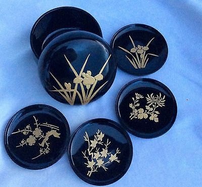 Vintage Set/6 Black Lacquer Japanese Tea Coasters In Matching Round Box~ST Japan