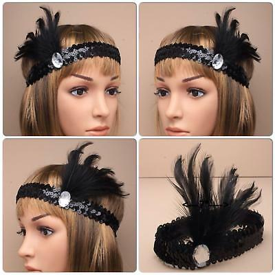 BLACK SEQUIN BROW BAND WITH STONE & FEATHERS 1920s CHARLESTON HESTON GATSBY