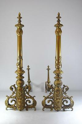 "Antique Pair Neo Classiacal Brass Andirons 30"" High"