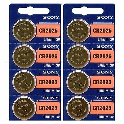 8 NEW SONY CR2025 3V Lithium Coin Battery Expire 2027 FRESHLY NEW - USA Seller