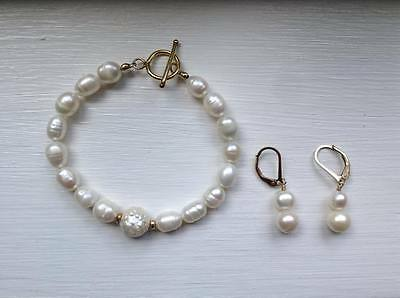 Handmade Set: Freshwater Pearl Bracelet & Earrings