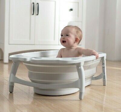 Karibu Baby Fold Away Bath Travel Bath Tub From Birth Award Winning - White Blue