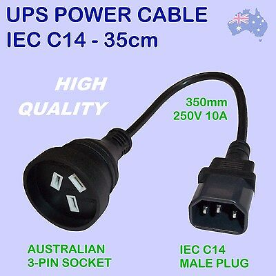 UPS to PC ADAPTOR CABLE - 35cm IEC C14 to AUS 3-PIN SOCKET - 250V 10A POWER LEAD