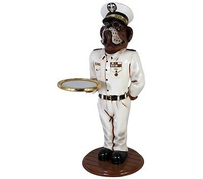 Bulldog Butler Statue - Admiral Holding Tray Display Prop