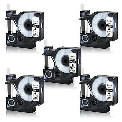 5x Great Quality Black on White Label Tape Compatible for DYMO D1 45013 S0720530