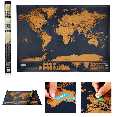 Scratch Map -Deluxe Edition Personalized World Atlas Poster Travellers Diary Log