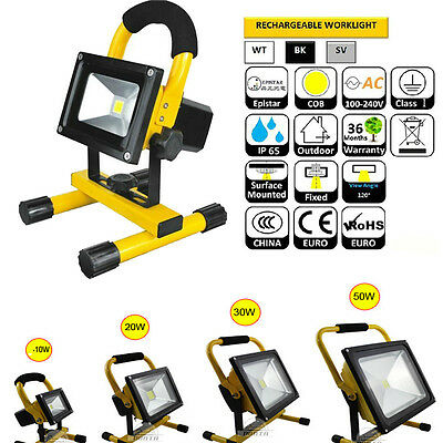10/20/30/50W Flood Light Portable LED Work Light Rechargeable Camping Cold White