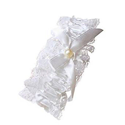Ladies Off White Lace Garter With Pearl Bead And Bow Hen Nights Wedding Bridal