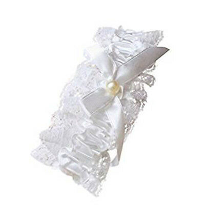 Off White Lace Garter Ribbon Bow Centre Pearl Bead Hen Nights Wedding Bridal