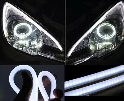 2X BIANCO 60cm STRIP LED DECORATIVA FARO STRISCIA DRL RUN LIGHT 12V