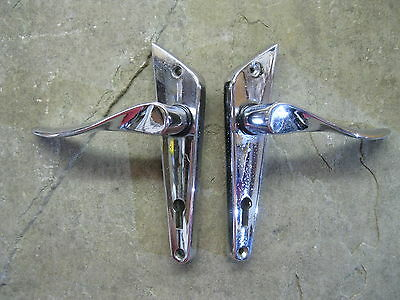 Pair of Original 1930's Art Deco Chrome Door Lever Handles 0153