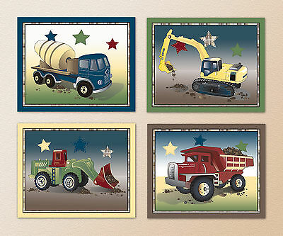 Construction Zone Boy Nursery Wall Art Prints. Dump Truck, Mixer, Loader, Trucks