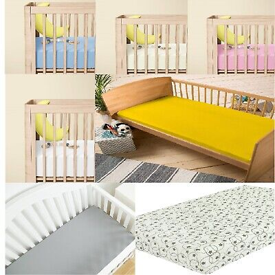2 x Cot Bed 100% Cotton Thick Jersey Fitted Sheet Toddler Bed Size 140cm x 70cm,