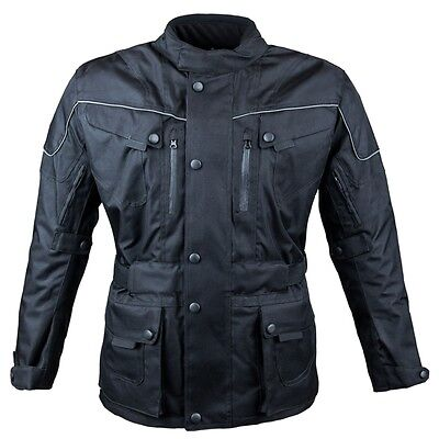 Men's Armoured Waterproof Cordura Textile Black Motorcycle Motorbike Jacket