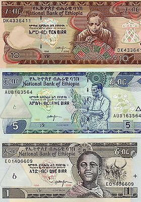 ETHIOPIA Africa set of 3 1,5,10 Birr UNC all 2006 p-46,47,48