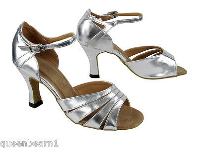 1680 Silver Leather Swing Salsa Mambo Latin Dance Shoes heel 3 Size 9 Very fine