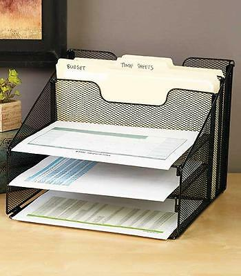 NEW Metal 5-Compartment Desktop File Organizer Home Office Storage Black Mesh