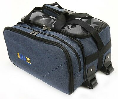 KAZE SPORTS 2 Ball Compact Bowling Roller Wheel Tote Bag Made of Denim Jeans