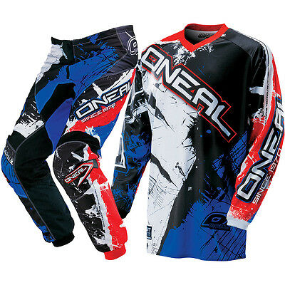 Oneal NEW 2017 Youth Mx Element Shocker Black Red Blue Motocross Kids Gear Set