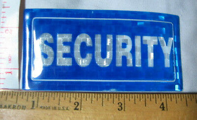 NEW 'SECURITY' crest/patch blue/white reflective plastic