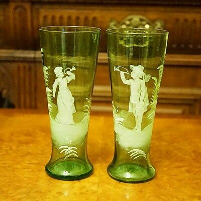 Stunning Pair of Genuine Old Mary Gregory Tall Glasses Vases with Musicians