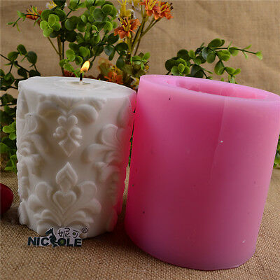Nicole Cylinder Flower Silicone Candle Mold Soap Craft Molds Decorating Tools