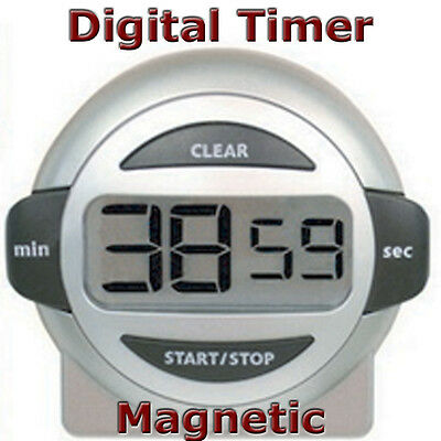 AcuRite Magnetic Digital Timer LCD Kitchen Count Up Down Egg Cooking Alarm - New