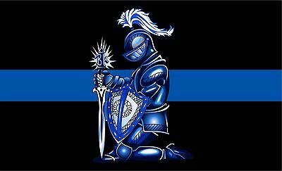 "Blue Knight Thin Blue Line Police Decal 3"" x 1.75""  REFLECTIVE Window Decal"
