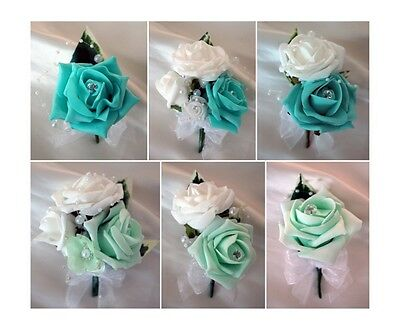 Wedding Buttonholes and corsages  Tiffany Blue, Mint Green